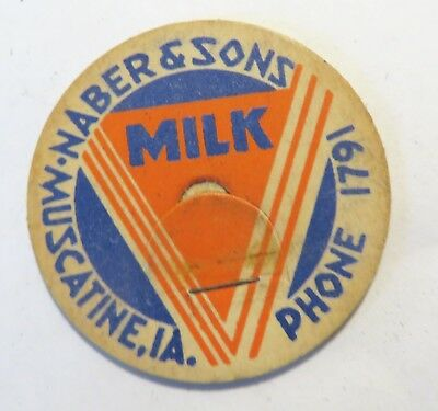 "Vintage Milk Cream Bottle Cap 1-5/8"" Naber & Sons Dairy Muscatine Iowa"