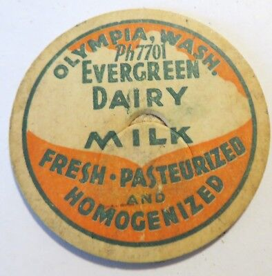 "Vintage Milk Cream Bottle Cap 1-5/8"" Evergreen Dairy Olympia Washington"