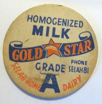 "Vintage Gold Star Milk Bottle Cap 1-5/8"" Selah Home Dairy"