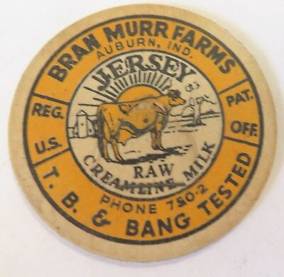 "TB Test Dairy Raw Creamline Milk  Bottle Cap 1-5/8""  Bran Murr Farms Auburn Ind."