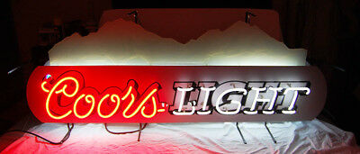LARGE - COORS LIGHT BEER NEON SIGN with MOUNTAINS - RARE