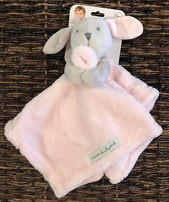 Blankets and Beyond Bunny Rabbit Pink Gray Security Blanket Lovey
