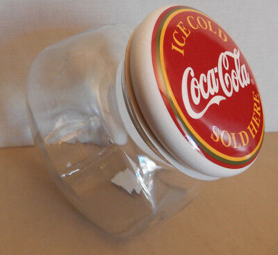 NEW Anchor Hocking Glass Coca Cola -Coke Candy Jar Canister Porcelain Lid 85810