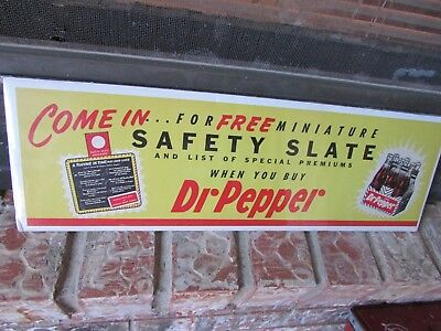 1950's Dr. Pepper Safety Slate Paper Sign (NICE) Free Shipping