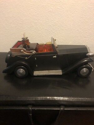 """Vintage ROLLS ROYCE Car with Bar and Music Box Decanter Shot Glasses 15"""" Long"""