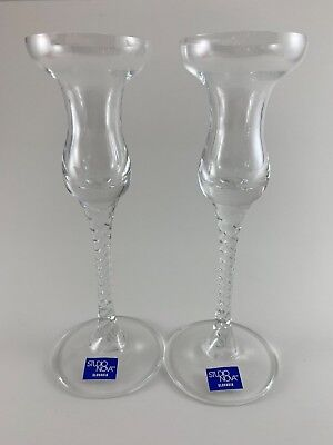 """Crystal Candleholders Venice Set Of 2 Twisted Stem 7.5"""" Tall Holiday Decor"""