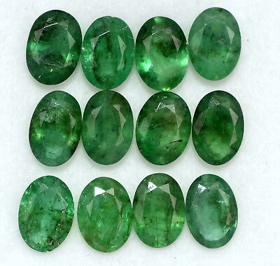 Natural Emerald Oval Cut 7x5 mm Lot 14 Pcs 9.11 Cts Certified Loose Gemstones