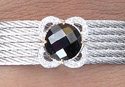 NEW $1750 Charriol 6 Cable Bracelet Black Onyx Diamond Stainless Steel