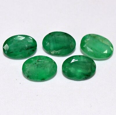Natural Emerald Oval Cut 7x5 mm Lot 05 Pcs 3.47 Cts Certified Loose Gemstones