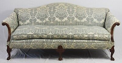 Mahogany Chippendale Claw and Ball Sofa Williamsburg Style Blue Damask Fabric