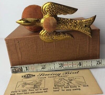 Antique Sewing Bird Metal Clamp-on, Double Pin cushion, box/instructions *Mint*