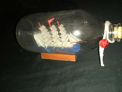 Tiny Hand Made Ship Made In A Bottle
