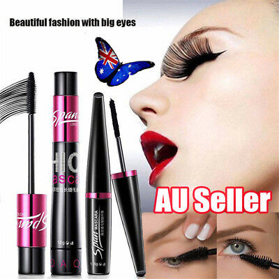 4D Silk Fiber Eyelash Mascara Extension Makeup Black Waterproof Eye Lashes BK