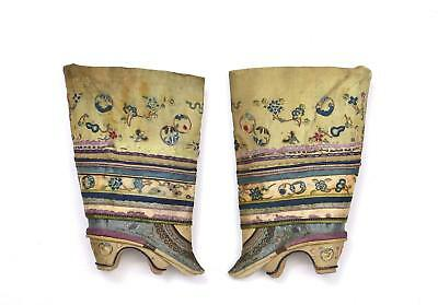 19th Century Chinese Silk Embroidery Forbidden Stitch Bound Feet Lotus Shoes