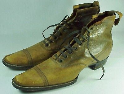 RARE Antique SELZ Shoe Chicago Victorian Men's Needle Nose Leather Boots 1800's