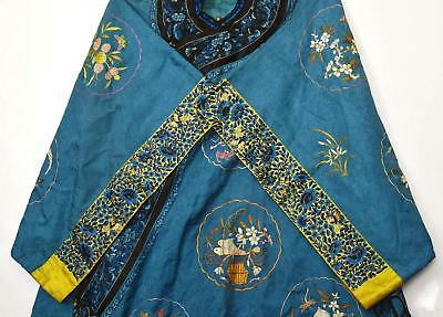 19C Chinese Blue Silk Embroidery Brocade Lady's Robe Jacket Butterfly Flowers