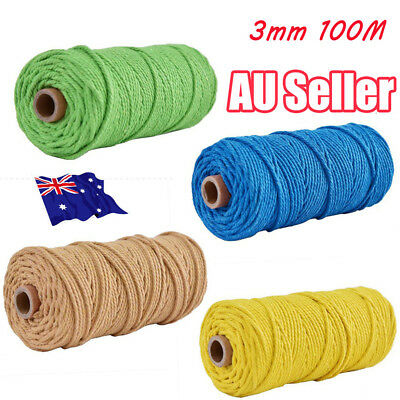 3mm 100% Natural Coloful Cotton Twisted Cord Craft Macrame Artisan String BK