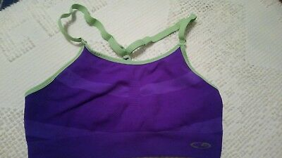 """CHAMPION"" LADIES PURPLE AND GREEN SPORTS BRA size Large"