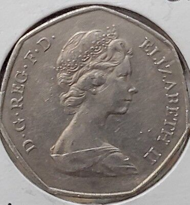 Great   Britain  50   Pence  1973   Big  Coin