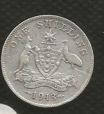 1913 Shilling - George V - *6 Pearls* - Key Date -  Very Good Condition