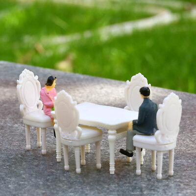 1/2 Sets 1:20 G Scale White Square Dining Table Chair Settee Railway Model