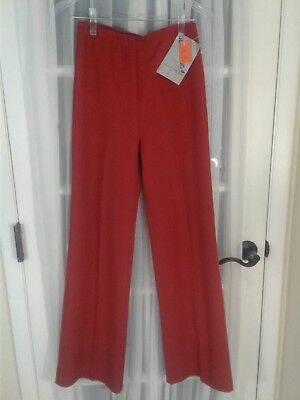 NOS Vintage Women's Size 8 6 Small Rust High Waist Polyester Disco Flare Pants