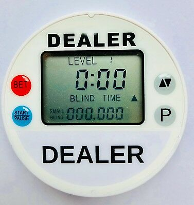 Tournament Dealer Button-- blind timer White Poker Clock Programmable