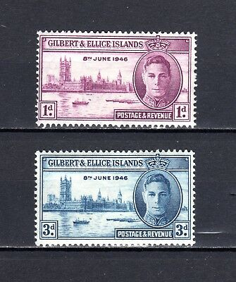 """1946 - GILBERT & ELLICE Islands - KGVI 1d Maroon and 3d Blue """"VICTORY"""""""