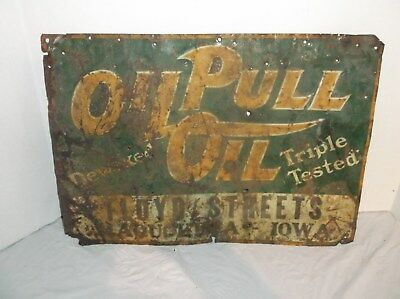 Rumely Oil Pull oil  embossed tin sign- floyd streets maquoketa Iowa -AWESOME