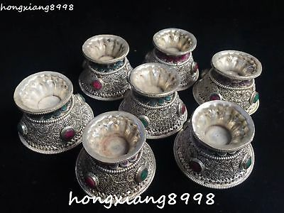 Tibetan Old Silver Filigree Turquoise Coral Gem Ancient Cann Cup Cups Statue Set