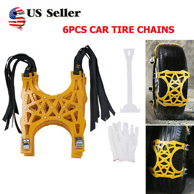 6pcs Thick Tendon Emergency Belt Thickening Tire Chains Snow Anti-skid For Car