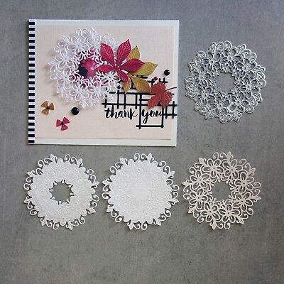 shopaperartz LACY FLOWER CIRCLE DOILY ACCENT CUTTING DIE FITS SIZZIX CUTTLEBUG