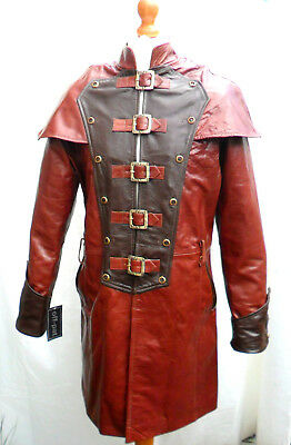 HAND MADE Mans 100% REAL LEATHER BROWN Steampunk Jacket Coat  GOTH