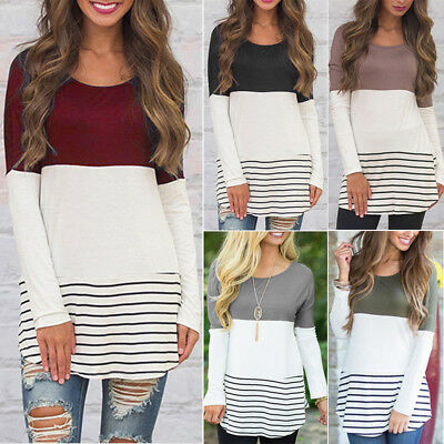 Women Color Block Striped Long Sleeve Ladies O Neck Tunic Plus Size Tops T Shirt