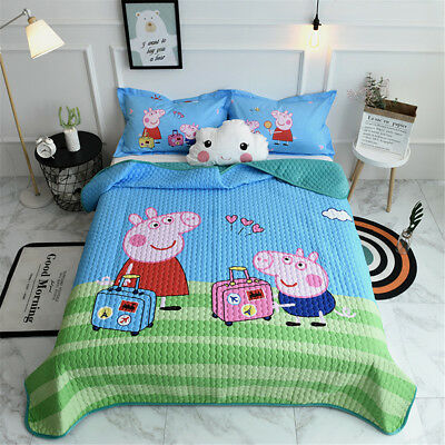 Peppa Pig Kids Quilt Cotton Bedspread Coverlet Throw Blanket Queen Size Set New