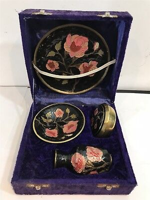 Set of Miniature Chinese Enamel Painted Brass Collectables In Case - Plate, Vase