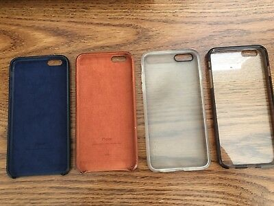 LOT of 4 iPhone 6/6s Plus Cases - OEM Apple Genuine Leather, Spigen, Incipio