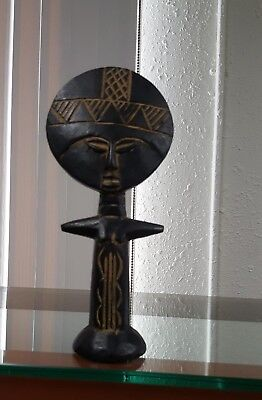 "10"" Ghana Asante Wood Carved Akua ba Fertility Doll/Statue/African Art 234"