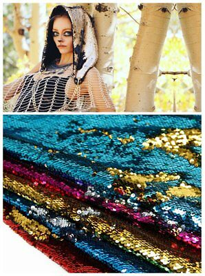 """Mermaid Reversible Sequin Sparking Fabric Dragon Scale Fabric 20""""x58""""-50*145cm"""