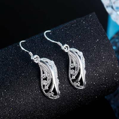 Womens 925 Sterling Silver Elegant Filigree Leaf Long Drop Dangle Earrings #E249