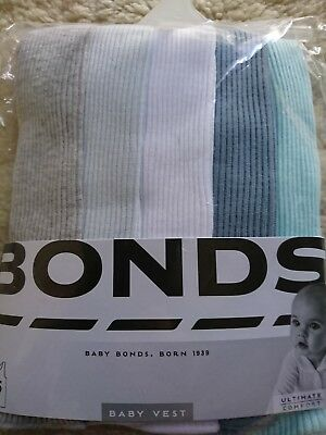 5 x Pack Brand New Baby Bonds Vests Ribbed Cotton Singlets Size 000 0-3 Months