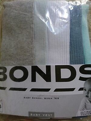 5 x Pack Brand New Baby Bonds Vests Ribbed Cotton Singlets Size 00 3-6 Months