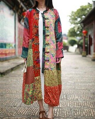 Cotton Linen Women Maxi Long Button Floral Folk Custom Leisure Dress Coat Jacket
