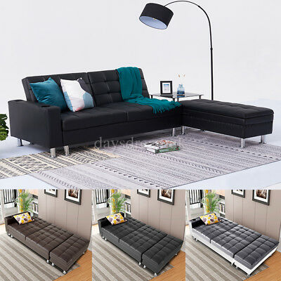 3 Seater Sofa Bed & Storage Box Bench Faux Leather Folding Sofa 2 Cup Holders UK