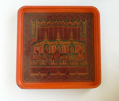 "vintage LACQUER TRAY - hand decorated BURMESE or THAI (9.75"" x 9.75"" x 0.6"")"