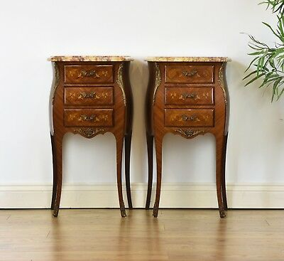 ANTIQUE PAIR OF FRENCH TULIPWOOD AND MARBLE BEDSIDE CABINETS Chests Night Stands