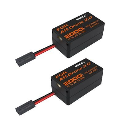 2 Pack 2000mAh Parrot AR Drone 2.0 Battery 11.1V 20C Upgrate Li Po Battery MP