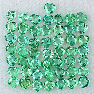 4.77 Cts Natural Top Green Emerald Loose Gemstone Heart Cut Lot 3 mm Zambia $