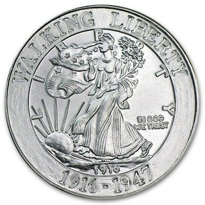 Walking Liberty 1 oz .999 Solid Silver Art-Round -  1916 - 1947 Tribute/Design