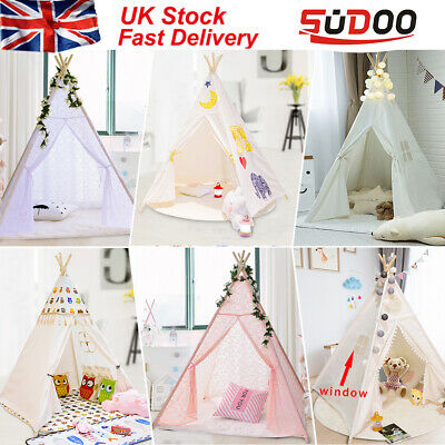 Children Kids Wigwam Teepee Play Tent Game Playhouse Foldable Tipi Out Indoor LC